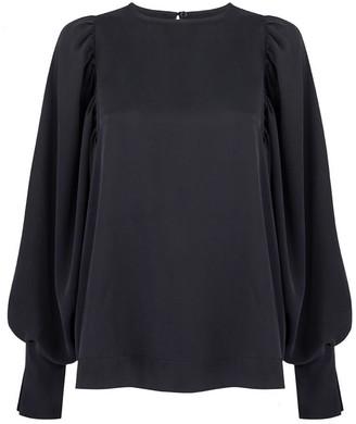 Monica Nera Aida Black Silk Long-Sleeve Blouse