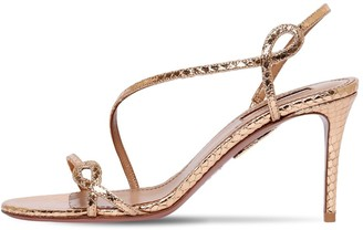 Aquazzura 75mm Serpentine Embossed Leather Sandals