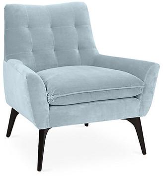 Kim Salmela Lawrence Accent Chair - Sky Blue Velvet