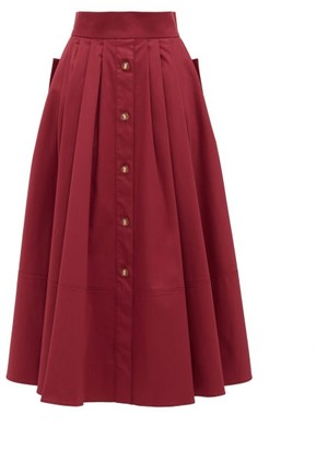 Francoise - Pleated Cotton-blend Midi Skirt - Burgundy