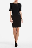BCBGMAXAZRIA Hansel Short-Sleeve Lace-Insert Dress
