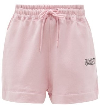 Ganni Software Organic Cotton-blend Track Shorts - Light Pink