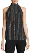 Trina Turk Logan Sleeveless Metallic Dotted Stripe Silk Top