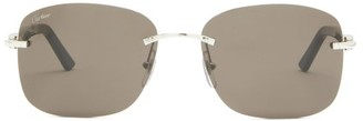 Cartier C Decor Rimless Square Acetate Sunglasses - Silver