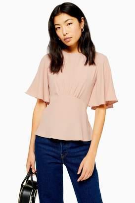 Topshop AUSTIN Plain Pink Angel Sleeve Blouse