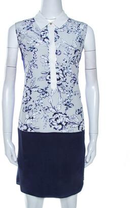 Rebecca Taylor Bicolor Floral Print Silk Tunic Dress S
