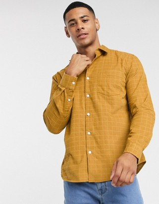 New Look long sleeve grid check cord shirt in mustard-Yellow