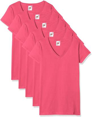 Fruit of the Loom Women's Valueweight V Neck Lady-Fit 5 T-Shirt