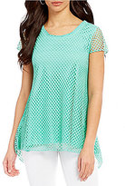 Westbound Cap Sleeve Mesh Hi-Low Tunic