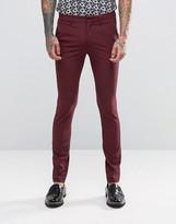 Asos Super Skinny Suit Pants In Berry