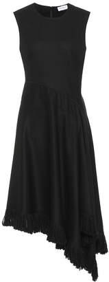 Salvatore Ferragamo Fringe-trimmed cashmere midi dress