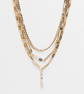 ASOS DESIGN Curve multirow necklace with safety pins and lariat in gold tone