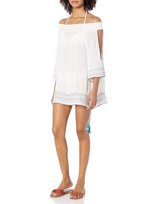 OndadeMar Women's Solid Off The Shoulder Short Dress
