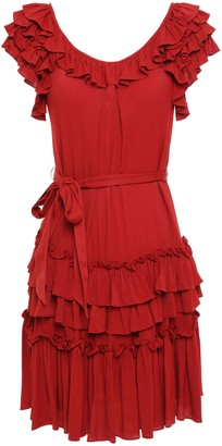 Marissa Webb Tiered Ruffle-trimmed Gathered Crepe Mini Dress
