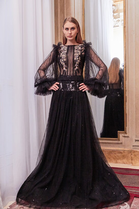Gatti Nolli by Marwan Sheer Long Sleeve Top and A-Line Skirt