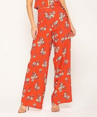 Miss Me Women's Casual Pants ORG - Orange Floral Side-Button High-Waist Palazzo Pants - Women