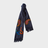 Paul Smith Women's Navy Paisley Appliqué Wool-Cashmere Scarf