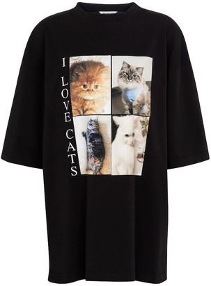 Balenciaga Cat-print oversized cotton T-shirt