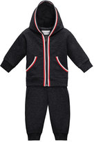 Moncler Hooded Melange Two-Piece Track Suit, Navy, Size 12M-3