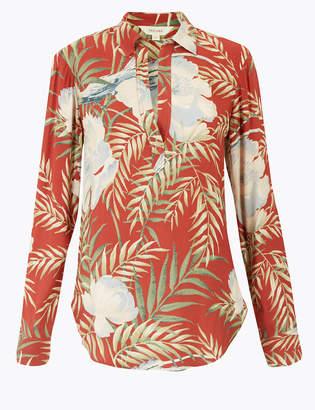 Marks and Spencer Floral Peplum Back Long Sleeve Shirt