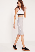 Missguided Side Stripe Midi Skirt Grey