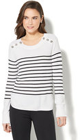 New York & Co. 7th Avenue - Striped Crewneck Sweater