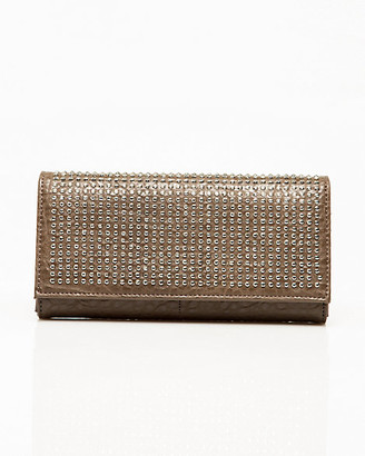 Le Château Studded Faux Leather Flapover Clutch