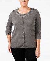 Karen Scott Plus Size Embellished Cardigan, Only at Macy's