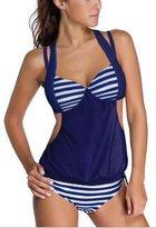 SunIfSnow Women Conservative Push Up Solid Color Splice Striped Halter Tankini Bikini M