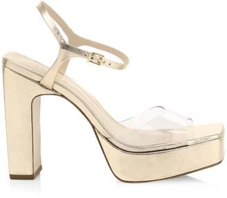 Schutz Luanda Metallic Leather Platform Sandals