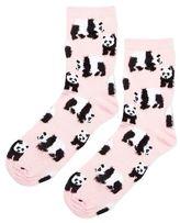 Fluffy panda ankle socks
