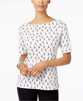 Karen Scott Giraffe-Print Boat-Neck Top, Created for Macy's