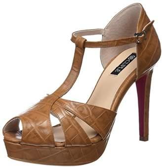 Cuplé Women's PALA-TALÓN PEEP Toe Coco Kabul Cuero Open Sandals, Brown 0505