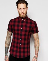 Asos Skinny Shirt With Buffalo Plaid In Red With Short Sleeves