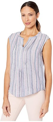 Vince Camuto Sleeveless Cabana Stripe Pintuck Front Blouse (Pink Lotus) Women's Clothing