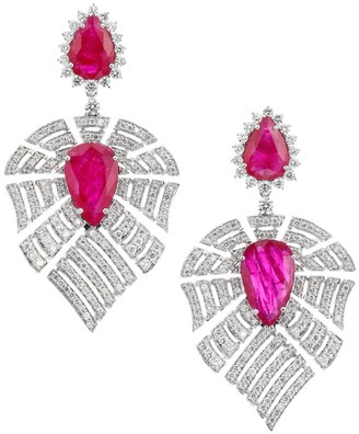 Hueb Apus 18K White Gold, Diamond & Ruby Drop Earrings