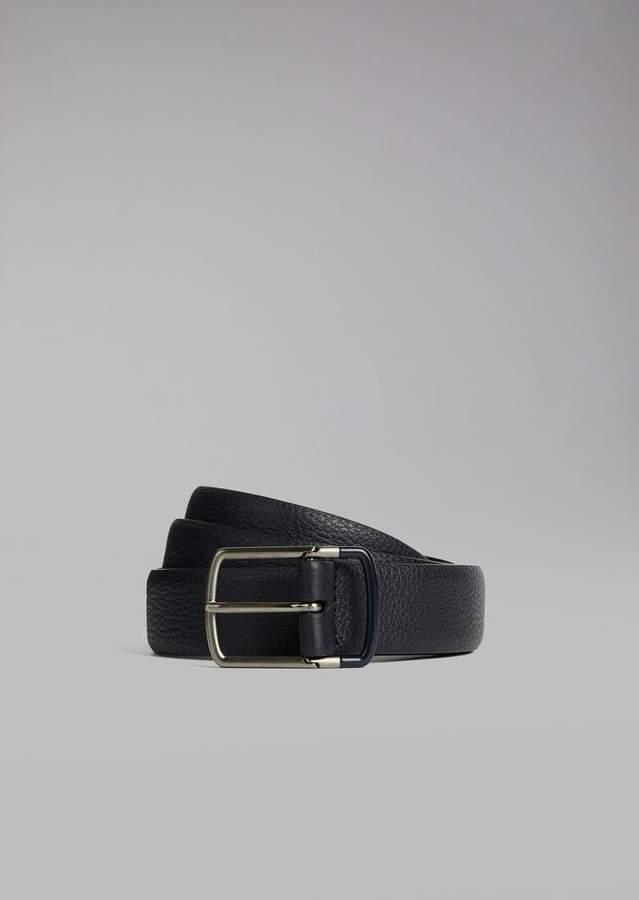 Giorgio Armani Grainy Calfskin Leather Belt With Two-Tone Buckle