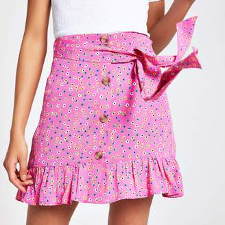 River Island Womens Pink ditsy floral button front mini skirt