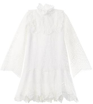 Oscar de la Renta Embroidered Leaves Eyelet Dress