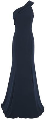 Jay Godfrey One-shoulder Pleated Stretch-cady Gown
