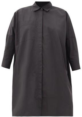 Co Longline Cotton-blend Poplin Shirt - Black