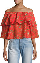 Alice + Olivia Meagan Off-the-Shoulder Double-Layer Floral Top