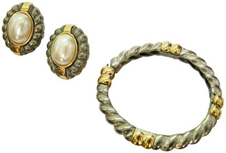 One Kings Lane Vintage Givenchy Two-Tone Bracelet & Earring Set - Wisteria Antiques Etc - bracelet, pewter; earrings, gold/pearl