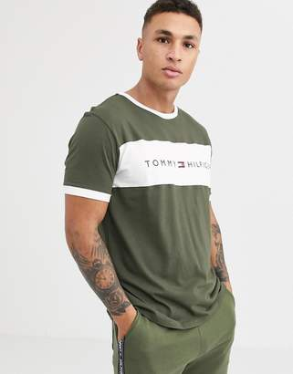 Tommy Hilfiger lounge t-shirt in olive with chest stripe logo-Green