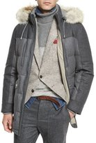 Brunello Cucinelli Mixed-Media Quilted Parka w/Fur-Trim Hood, Lead