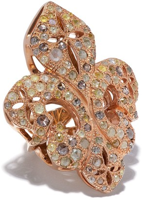 Loree Rodkin Giant Diamond Pave Fleur-De-Lis Ring