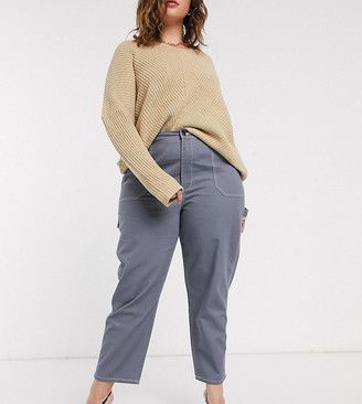 Asos DESIGN Curve straight leg carpenter with topstitch