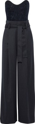 Marissa Webb Frances Strapless Corded Lace-paneled Wool And Cotton-blend Twill Jumpsuit