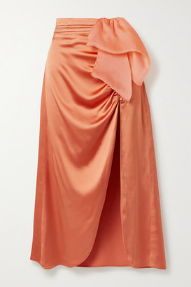 Vanessa Cocchiaro The Aphra Silk-trimmed Draped Ruched Satin Midi Skirt