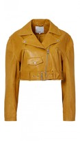 Tibi Anesia Leather Cropped Moto Jacket
